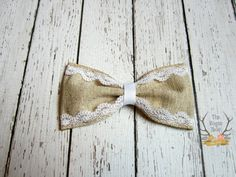 Burlap & Lace Hair Bow  Rustic Wedding  Flower by TheRogueBaby