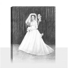 A nice couple on pencil sketch for your wall by snappy canvas. Black And White Canvas, Photo Sketch, Bridesmaid Dresses, Wedding Dresses, Photo Canvas, Art Market, Pet Portraits, Artsy Fartsy, Baby Photos