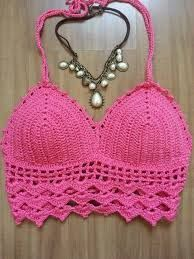 ❤~Crochet இڿڰۣ-ڰۣ— ❀ ✿ top crochet passo a passo Bikinis Crochet, Crochet Bra, Crochet Bikini Top, Crochet Woman, Love Crochet, Crochet Clothes, Crochet Stitches, Crochet Patterns, Crochet Halter Tops