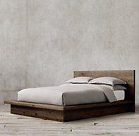 Reclaimed Russian Oak Platform Bed  Reclaimed Brown Oak  Queen  $4325