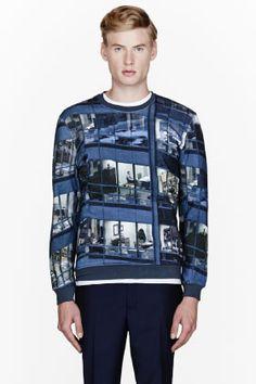CARVEN Blue Office Print Sweatshirt for men   SSENSE