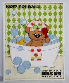 Teddy Bear in a bathtub Birthday card created using Joy'sLife.com stamps, SVG file by Scrapping Bug Designs (Kristy W. Designs)