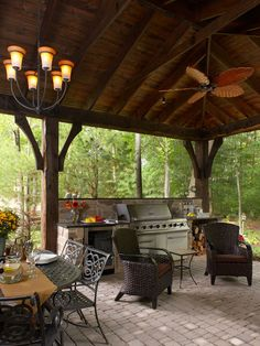 I like the covered patio and high ceiling. Ditch the grill and put in a fireplace.