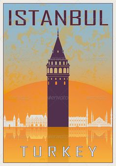 Istanbul Vintage Poster  #GraphicRiver         Istanbul vintage poster in orange and blue textured background with skyiline in white. AI 10 Illustrator vector fully editable file, EPS 8 vector fully editable file, and JPG high resolution file included.                     Created: 30 November 13