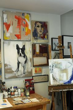 Heather & Jeff's Art (and Dog) Friendly Modern Eclectic Original Art by Heather LaHaise via Apartment Therapy