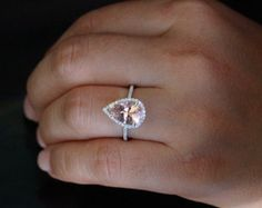 Pink Peach Morganite Engagement Ring Cushion by Twoperidotbirds