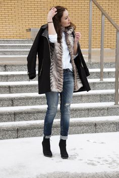 faux fur and white shirt