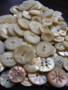 Vintage Mother of Pearl Shell Buttons Carved Nacre by www.TidBitz.com