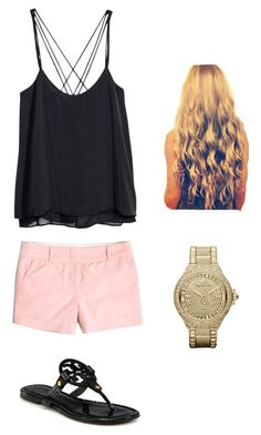"""""""Bands On The Beach"""" by zoeantonpeat ❤ liked on Polyvore featuring H&M, J.Crew, Tory Burch, Michael Kors, preppy, Prep and southernprep"""