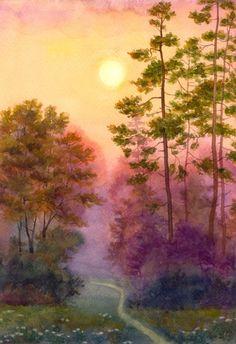 清新水彩画 手绘 自然风景 树木 意境 清新淡雅 唯美插画