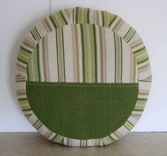 Zafu Meditation Cushion in Green Stripe Repurposed Home Decor fabric by zafuchi