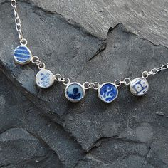 Pottery Shard Five Dot Necklace by moonflygirl