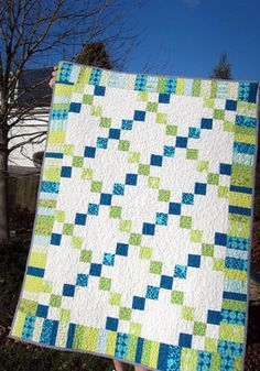 Blue Plus Green Equals Turquoise Child's Quilt by My Métier modern-kids-bedding