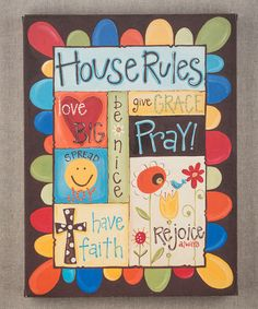'House Rules' Canvas | Daily deals for moms, babies and kids