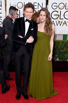 Pin for Later: Let's Face It, Award Season Was All About British People This Year Eddie Redmayne and Hannah Bagshawe at the Golden Globe Awards The nominated actor looked excited to take to the red carpet with his new wife, who wore a strapless olive-green gown.