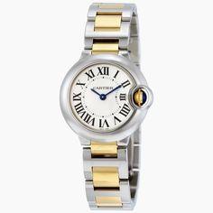 Pre-owned cartier ballon bleu de cartier quarz-silber-zifferblatt damen uhr w2b - pre-owned watches - pre-owned - jomashop