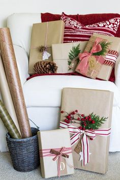 Christmas Gift Wrapping Ideas - On Sutton Place Winter Christmas, All Things Christmas, Christmas Holidays, Christmas Crafts, Christmas Decorations, House Decorations, Christmas Ideas, Christmas Gift Wrapping, Holiday Gifts