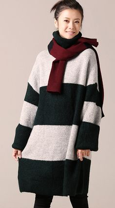 479001bff82 For Work Sweater dress outfit Women long sleeve green striped tunic knit  dress fall high neck