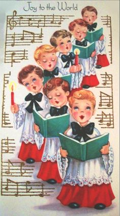 Old Christmas Post Сards — Choir Boys Carolers Joy to the World ~ I just love these vintage choir boys and similar angels. Old Time Christmas, Old Fashioned Christmas, Christmas Scenes, Christmas Past, Christmas Music, Retro Christmas, Christmas Quotes, Vintage Christmas Images, Vintage Holiday