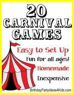 20 Fun and Easy Carnival Style Games! Inexpensive and most use recycled items from around the house. Fun for all ages!