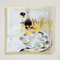 cool Rite Lite PPGL-5 Glass Matzah Tray#44; Seder Scene#44; Square#44; 11.5 in. - Pack Of 3