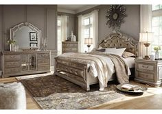 Birlanny Silver King Upholstered Bed w/Dresser, Mirror and Nightstand, /category/bedrooms/birlanny-silver-king-upholstered-bed-w-dresser-mirror-and-nightstand.html