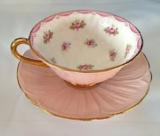 SHELLEY Pink Roses Oleander Footed Tea Cup & Saucer with Gold Trim