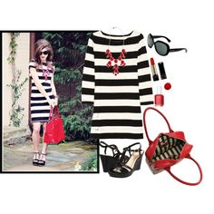 red bubble necklace strip dress