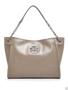 Tory Burch BRITTEN Small Slouchy Tote in Patent French Grey
