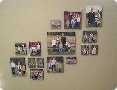 """Photos put on Styrofoam """"canvas"""" bought from Lowe's. Covered with black fabric (staple in back). Spray the fabric fronts of the canvases with spray glue (tacky spray). Place the pictures on each one and gently rub them with a soft towel until the adhere."""