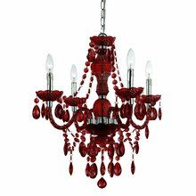 """View the AF Lighting 8354-4H Elements Series """"Naples"""" Mini Chandelier with Garnet Plastic Crystals and Swag Kit, Finished in Chrome at LightingDirect.com."""