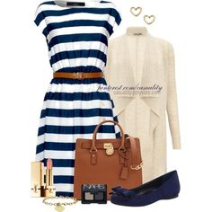 """""""Striped Summer Dress"""" by casuality on Polyvore"""