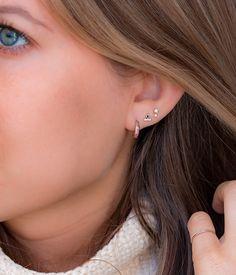 Gold Ear Jackets + Black Sparkly Spikes- gold ear jacket/ ear jacket spike/ ear jacket gold/ ear jacket earring/ ear cuff/ gifts for her - Fine Jewelry Ideas Tiny Stud Earrings, Simple Earrings, Crystal Earrings, Sterling Silver Earrings, Diamond Earrings, Diamond Jewelry, Second Hole Earrings, Amethyst Jewelry, Dainty Earrings