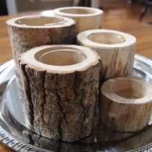GLASS LINED WOOD CANDLE HOLDER (SET OF 5)