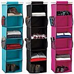 Hanging closet organizers from Bed Bath and Beyond. You can get skinnier ones for shoes and bigger ones for holding blankets and shirts and sweaters.
