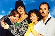 Outside Edge. Image shows from L to R: Kevin Costello (Timothy Spall), Maggie Costello (Josie Lawrence), Miriam Dervish (Brenda Blethyn), Roger Dervish (Robert Daws). Image credit: Central Independent Television.