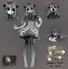 [closed] adoptable OC Skeleton Panda Sea Squirt by Matilda-Fiship on DeviantArt Demon Drawings, Oc Drawings, Amazing Drawings, Cute Drawings, Pretty Art, Cute Art, Fantasy Creatures, Mythical Creatures, Character Concept