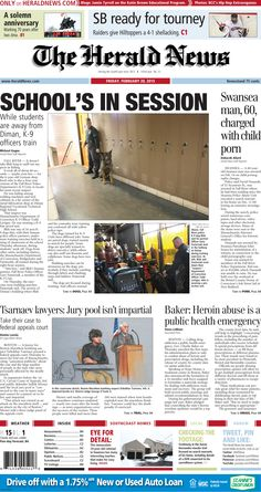 The front page of The Herald News for Friday, Feb. 20, 2015. #fallriver