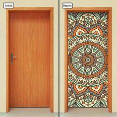 Adesivo Decorativo De Porta - Mandala - 294cnpt - Americanas.com Yoga Studio Decor, Luminaria Harry Potter, Door Murals, Geek Decor, Door Stickers, Painted Doors, Home Hacks, Mandala Art, Door Design