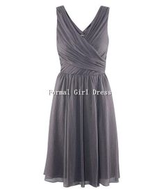 Strap V-neck Grey Short Chiffon Dress Short Chiffon Bridesmaid Dress Homecoming Dress Prom Dress Evening Dress Party Dress Formal Dress on Etsy, $69.00