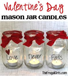 Valentine's Day Mason Jar Candles! ~ from ~ turn your simple mason jars into some sweet candles! Valentine's Day Mason Jar Candles! ~ from ~ turn your simple mason jars… Cadeau St Valentin, Saint Valentin Diy, Pot Mason Diy, Mason Jar Crafts, Valentines Day Decorations, Valentine Day Crafts, Valentine Table Decor, Church Decorations, Valentines Design
