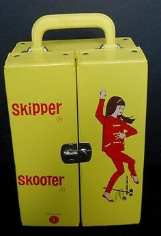 RARE Vintage 1960s Mattel Skipper Skooter Case Made in France Yellow NICE Barbie