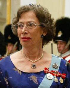 Princess Elisabeth of Denmark wearing a Faberge brooch made to commemorate the coronation of Tsar Nicholas II. The diamond brooch in the form of a crown set with two large cushion-shaped diamonds each weighing over 15 carats... The brooch was one of approximately half a dozen made on this occasion by Fabergé for the highest ranking grand duchesses. The Dowager Empress and the Tsarina received larger versions of the same jewel.