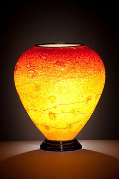 """""""Red and Yellow Lamp""""  Art Glass Table Lamp  Created by Curt Brock"""