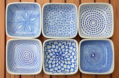 Draw the patterns on the ceramic dishes with a Pebeo Porcelaine 150 Paint Pen (the color I used was Lapis), allow them to dry for 24 hours, then bake them in the oven to set the ink. Super easy and I love the results: