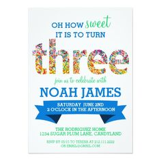388 best 3rd birthday party invitations images on pinterest 23 candy theme 3rd birthday party sprinkles blue 5x7 paper invitation card filmwisefo