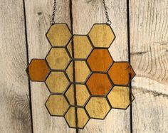 Stained Glass Honeycomb and Bee Suncatcher Set