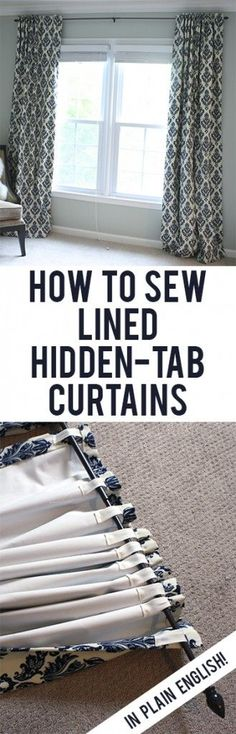 DIY Curtains and Drapery Ideas Easy, straightforward steps to making your own black-out lined back-tab curtains!Easy, straightforward steps to making your own black-out lined back-tab curtains! Sewing Crafts, Sewing Projects, Diy Projects, Diy Crafts, Sewing Diy, Sewing Hacks, Fabric Crafts, Tutorial Sewing, Sewing Tutorials