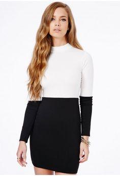 Seren Long Sleeve Monochrome Mini Dress - Dresses - Mini Dresses - Missguided
