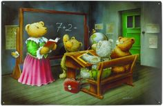 Magnetpinnwand Teddyschule 60x40 cm inkl. 8 Magnete Teddyb�ren